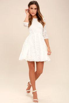 408f137871 It s a New Day White Lace Skater Dress 8 Macacão Para Casamento