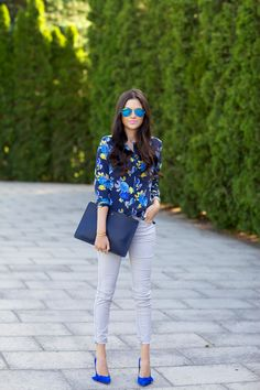 Neon blue shoes, blue outfit. LOVE this look!!