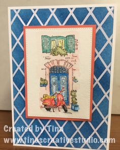 My second card using the MeDiTeRRaNEaN MoMeNTS Stamp Set from Stampin'Up  ____Colored using the new Watercolor Pencils