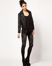 us.asos.com  ASOS PREMIUM Leggings With Baroque Panel Embelishment