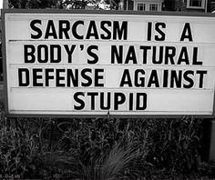 Sarcasm is insulting humour, the tone of the person making the satirical remark being quite casual or insulting. Description from searchquotes.com. I searched for this on bing.com/images