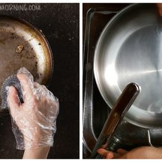 Best Ways to Clean Your Stainless Steel Pans with Stains Cleaning Oven Glass, Diy Home Cleaning, Household Cleaning Tips, Toilet Cleaning, House Cleaning Tips, Diy Cleaning Products, Cleaning Hacks, Cleaning Solutions, Kitchen Cleaning