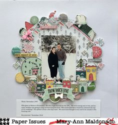 Since it's snowing today, I thought this layout was appropriate! It was soon after our wedding, 21 years ago! I played along with… Scrapbook Page Layouts, Scrapbook Albums, Scrapbook Paper, Photo Layouts, Christmas Scrapbook, Christmas Layout, Smash Book Pages, Paper Art, Paper Crafts