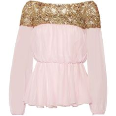 Marchesa Embellished tulle and silk-chiffon blouse ($3,495) ❤ liked on Polyvore featuring tops, blouses, pink, pink ruffle blouse, embellished blouse, off the shoulder blouse, silk chiffon blouse and embellished tops