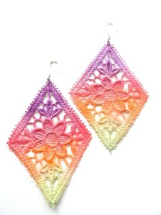 Lace Earrings Neon Flower Hand Painted - Purple Red Orange Green Ombre - Customizable Colors.