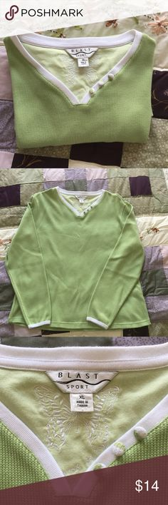 Blast sport shirt Long sleeve mint/country green shirt with cute buttons for decoration and embroidered butterfly on inside for some reason. Tops Blouses