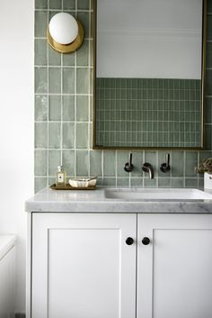 Tile bathrooms 317714948717020185 - modern green tile vanity bathroom – Source by diaryofaTOgirl Bad Inspiration, Bathroom Inspiration, Bathroom Ideas, Bathroom Crafts, Interior Inspiration, Shower Ideas, Bathroom Trends, Budget Bathroom, Bathroom Faucets