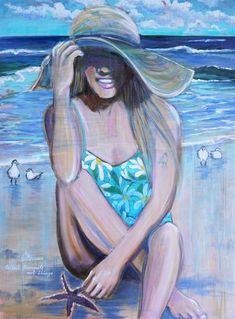 Jax, Fine Art Textiles, Baby Sea Turtles, Family Painting, Coastal Art, Mixed Media Canvas, Figure Painting, Portrait Art, Custom Art