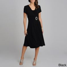 @Overstock - Make a stunning entrance in this beautiful dress from R Richards. This short sleeve dress has a cummerbund waist with a crystal embellished O-ring at the waist, finished with cascading ruffles.http://www.overstock.com/Clothing-Shoes/R-M-Richards-Womens-Cascading-Ruffle-Detail-Dress/7753098/product.html?CID=214117 $51.99