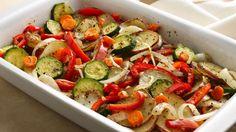 Los vegetales quedan más jugosos y con mejor sabor en el horno, ya que el calor seco provoca que se caramelice la superficie lo cual resalta su sabor. Asar no solo el fácil sino que requiere de menos tiempo de preparación. Esta receta rinde para 4 porciones. Ingredientes:   2 tazas de zanahoria 1 ¼ taza de morrón rojo 1 ¼ taza de morrón amarillo 1 ¼ taza de zhucchini2 1 taza de papa 1 taza de brócoli 1 taza de cebolla morada 1 cucharada de tomillo seco sal Vinagre de manzana a gusto…