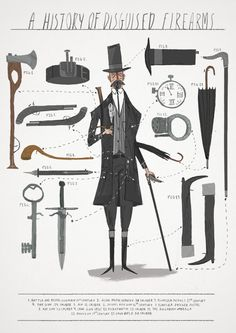 Joe Todd- Stanton Rework of an image looking at the history disguised firearms. His work really makes me smile! Character Illustration, Graphic Illustration, Heart Illustration, 3d Character, Character Design, Detective, Quentin Blake, Animation, Storyboard