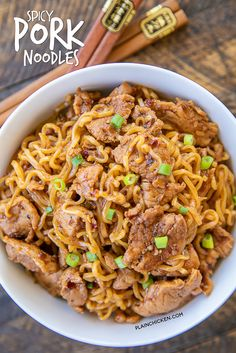 Spicy Pork Noodles - ready to eat in 10 minutes!!! Only 5 ingredients! Great weeknight meal!! Great way to use up leftover pork tenderloin. Pork tenderloin, brown sugar, soy sauce, chili garlic sauce, ramen noodles and green onions for garnish. Can add green beans or asparagus. We ate this twice in one week. Everyone LOVES this easy noodle bowl!! #pork #asian #ramen #noodles