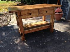 2 Drawer Rustic Kitchen Island | Do It Yourself Home Projects from Ana White