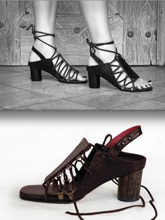 Gladiator Sandal by Preston Zly - Hand sculpted  Leather and wood.  http://prestonzly.com/Collections/Tribe/medium-sculpted-sandal