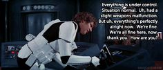 All the dialogue when Han is on the console talking to some of the commanders was all ad libbed.