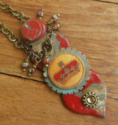 Repurposed Keyhole Necklace Vintage Crown Red Chippy by lilruby, $55.00