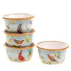 Certified International Botanical Birds Ice Cream Bowls (Set of 4) | Overstock.com Shopping - The Best Deals on Dessert Bowls & Stems