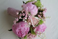 Flower Design Events: Pink Peony & Lily of the Valley Spring Wedding Bou...