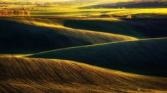 Fields near Nasedlovice lit by the setting sun, South Moravian Region, Czech Republic Photos Of The Week, Landscape Photography, Travel Photography, Zig Zag, Wonderful Places, Places To See, Fields, Country Roads, Waves