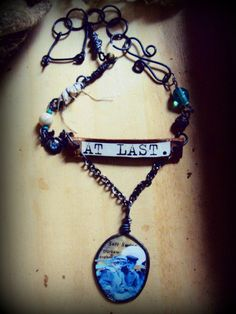 "OOAK Vintage  Altered Romantic True Love ""At Last""  Assemblage Art Necklace."