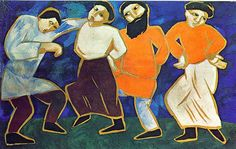 natalia goncharova paintings | Goncharova, Natalia (1881-1962) - 1910 Dancing Peasants (National ...