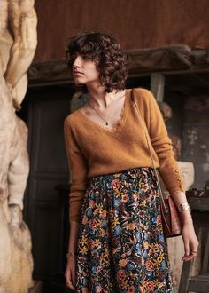 Bohemian style clothing, boho sweater, gypsy style flower print maxi skirt