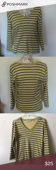 Tommy Hilfiger long sleeve v-neck thermal top Tommy Hilfiger long sleeve v-neck thermal top. In lime green/yellow/brown/gray stripes. 3/4 sleeve style. 100% cotton In great condition Tommy Hilfiger Tops