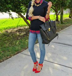 Classic...sweater + plaid + statement necklace