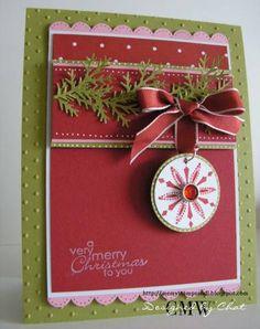 Very Merry using Stampin Up Snow Swirled stamp set
