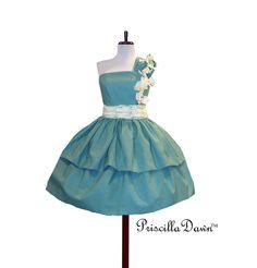 Cotton Cup Dress Custom in Your size and Color Preference Wedding Prom Teal. $265.00, via Etsy.