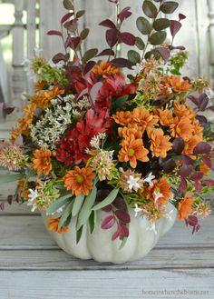 Fall Centerpiece Silk Floral Arrangement In A Pumpkin Garden Types, Diy Garden, Pumpkin Floral Arrangements, Fall Arrangements, Church Flowers, Fall Flowers, Autumn Decorating, Fall Decor, Decorating Ideas