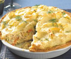 This tuna shepherd's pie by recipes+ is the perfect dinner option when your cupboard is bare, but for some frozen mixed veg, canned tuna and a couple of sheets of frozen pastry. Tuna Dishes, Fish Dishes, Seafood Dishes, Seafood Recipes, Frozen Seafood Mix Recipes, Tinned Tuna Recipes, Salmon Recipes, Can Tuna Recipes, Tuna Recipes For Dinner