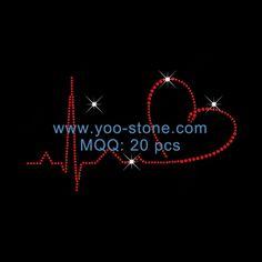 Outline Heart Rhinestone Heat Transfers For Sexy Girls