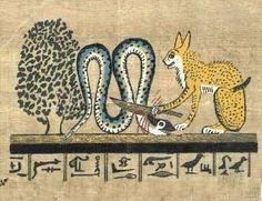 Apophis : Le serpent géant maléfique qui tente chaque nuit d'anéantir le soleil dans sa course souterraine - Apophis tué par le chat de Rê - Dieu de la nuit et de l'obscurité. Rival de Ra.