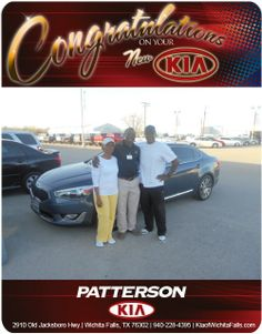 Congratulations to Jimmy and Dinah Reed for purchasing the 2014 Kia Cadenza. - From Mohammed Yero at Patterson Kia!