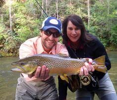 "David Zelski from Georgia Public Broadcasting's ""Georgia Traveler"" fishes with Blackhawk's Abby Jackson."