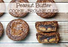 Peanut Butter Cookie Brownie Cups | The TipToe Fairy #brownierecipes #cookierecipes #chocolaterecipes #peanutbutterrecipes #easydessertrecipes