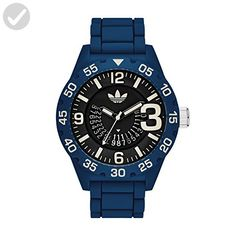 adidas Men's 'Newburgh' Quartz Plastic and Silicone Casual Watch, Color:Blue (Model: ADH3141) - Mens world (*Amazon Partner-Link)