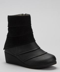 Take a look at this Laura Ashley Black Tiered Wedge Boot on zulily today!