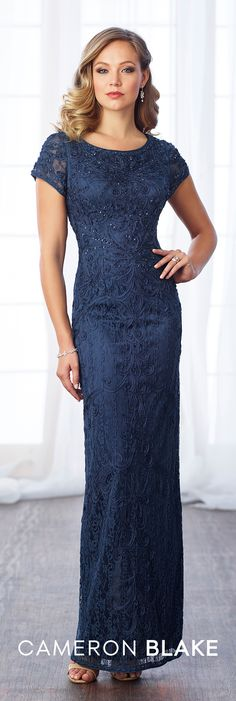 Formal Evening Gowns by Mon Cheri - Fall 2017 - Style No 217637 - navy blue short sleeve lace and ribbon work evening dress
