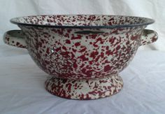 Antique Vintage Speckled White and Red Enamel-Ware by WVBarnSale