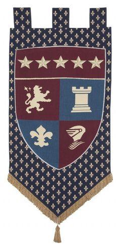Castle Crest Banner Luxury Tapestries-Renaissance Crest Banners