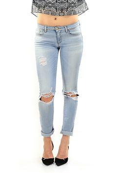 Kocca - Jeans - Abbigliamento - Jeans in cotone elasticizzato a cinque tasche con dettagli strappati sulla lunghezza. - L532 - € 105.00