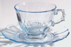 Fostoria Baroque-Blue Baroque Footed Cup and Saucer