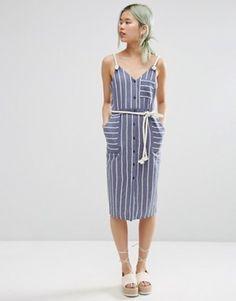 ASOS – Gestreiftes Sommerkleid mit Seilträgern