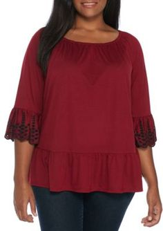 Fever Women's Plus Size Embroidered Sleeve Knit Top - New Syrah - 3X