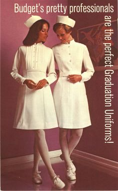 Two White female nurses in white stand next to each other and look down and towards either. 1972 Uniform Catalog Cover.