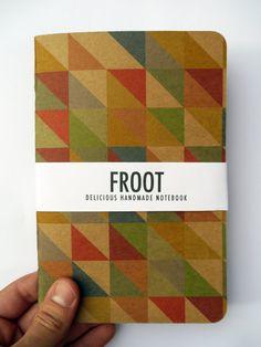 Handmade Multicoloured Geometric Triangle Pattern Notebook Journal