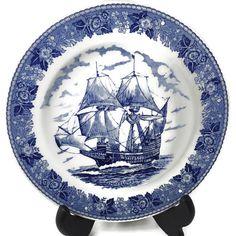 ♢• Antique Staffordshire Dessert Plate  - Mayflower Ship - American Massa... http://etsy.me/2khys8l