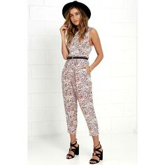 Billabong Dayz of Summer Multi Print Backless Jumpsuit (333145 PYG) ❤ liked on Polyvore featuring jumpsuits, billabong, white backless jumpsuit, sleeveless jumpsuit, summer jumpsuits and white jumpsuit